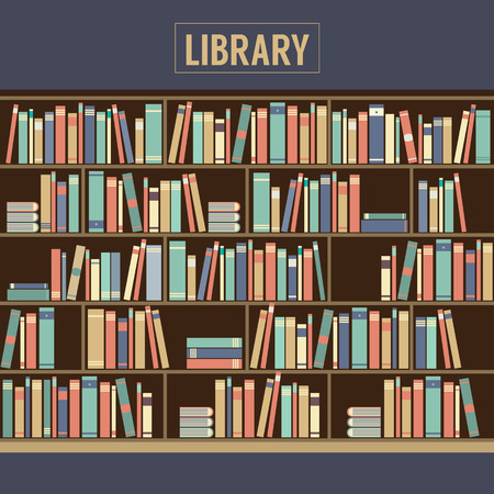 Bookcase In Library Illustration Vector