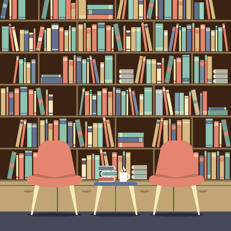 hot seat: Reading Seat In Front Of A Huge Bookcase Illustration