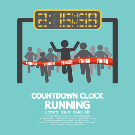 fila di persone: Countdown Clock Al Illustrazione Finish Line