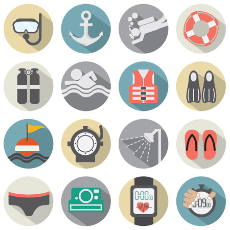 Flat Design Diving Icon Set Illustration Vector