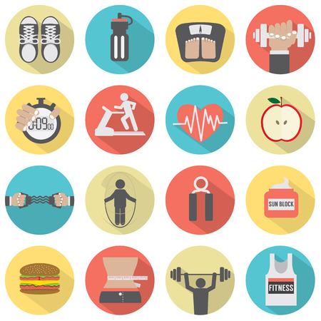 fitness: Modern ícone Plano Design Aptidão Set Ilustração