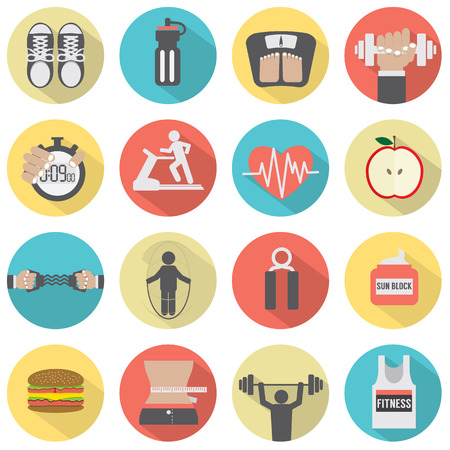 Modern Flat Design Fitness icon Set Vector