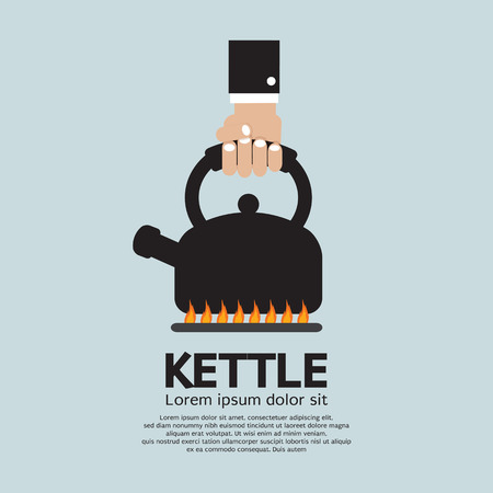 kettle: Hand Putting A Kettle On A Fire Stove