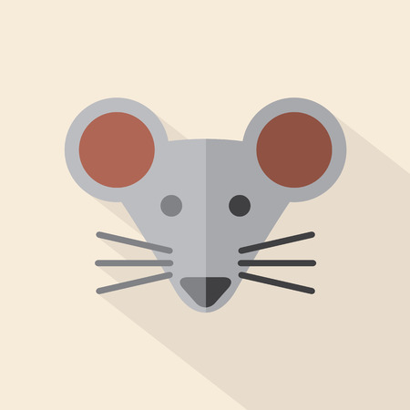 cartoon rat: Modern Flat Design Mouse Icon Illustration