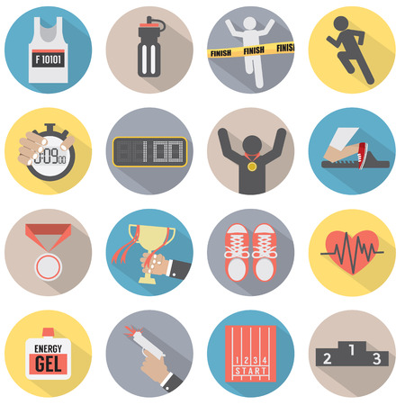Flat Design Run Icon Set Illustration