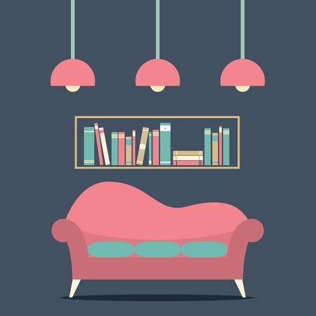 Modern Design Interior Sofa and Bookshelf Illustration