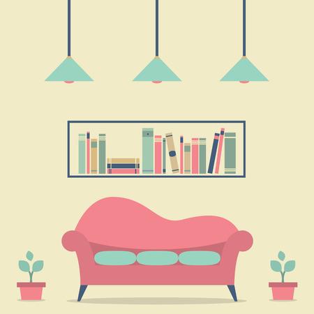 modern interior design: Modern Design Interior Sofa and Bookshelf Illustration