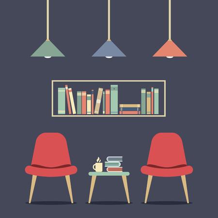 hot seat: Modern Design Interior Chair and Bookshelf Illustration