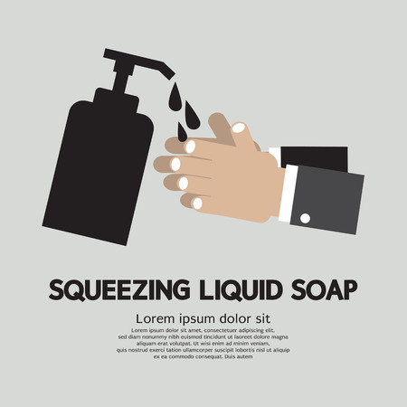 antibacterial soap: Squeezing Liquid Soap Illustration