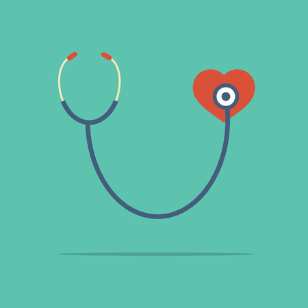 listening to heartbeat: Stethoscope Heart Checking Illustration