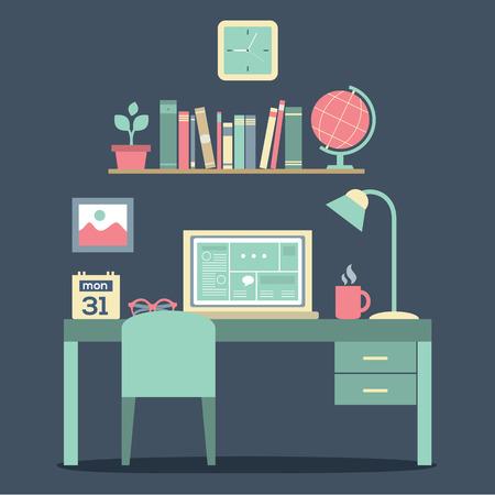 Flat Design Workplace Vector Illustration Vector