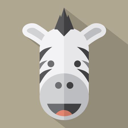 zebra face: Modern Flat Design Zebra Icon Illustration Illustration