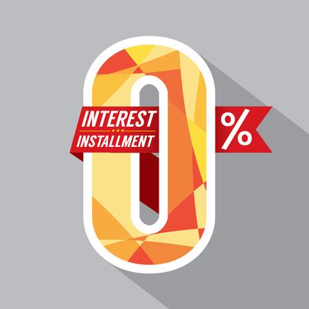 Zero Percent Interest Installment Vector Illustration
