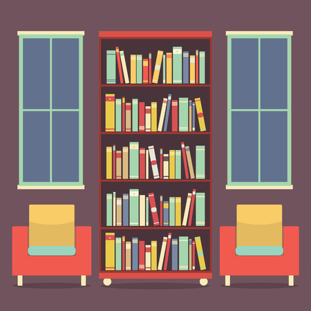 bookcases: Flat Design Reading Seats and Bookcase Vector Illustration