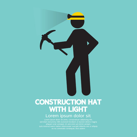 mine lamp: Construction Hat With Light Symbol Vector Illustration