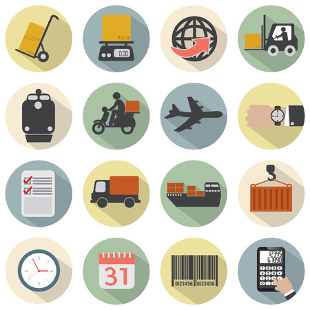 Modern Flat Design Logistics Icon Set Vector Illustration Vector