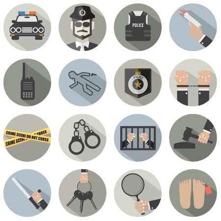 crime scene: Piso Moderno Diseño Policía y la Ley Icon Set Vectores