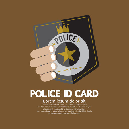 hand holding id card: Police ID Card Vector Illustration