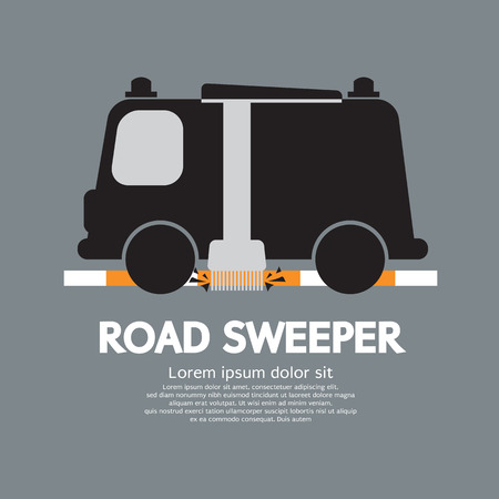 sweeper: Road Sweeper Car Vector Illustration