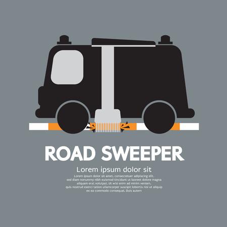 breakdown truck: Road Sweeper Car Vector Illustration