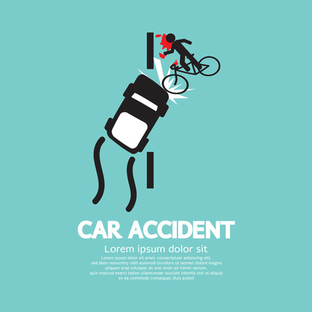 Car Accident With Bicycle Vector Illustration