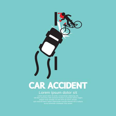 bicicleta vector: Ilustración Accidente de coche con la bicicleta Vector