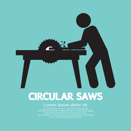 dangerous work: Circular Saws Graphic Vector Illustration