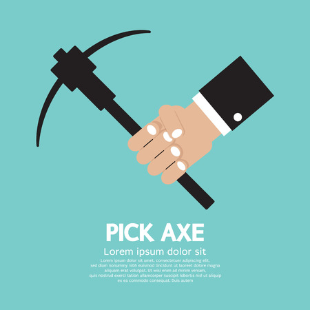 pick axe: Pick Axe In Hand Vector Illustration Illustration