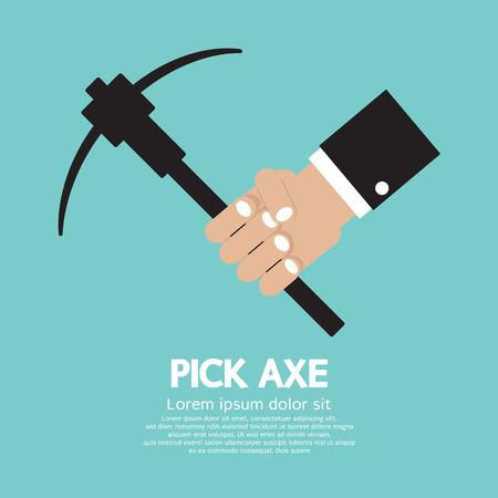 pick axe: Pick Axe In Hand Vector Illustration Illustration