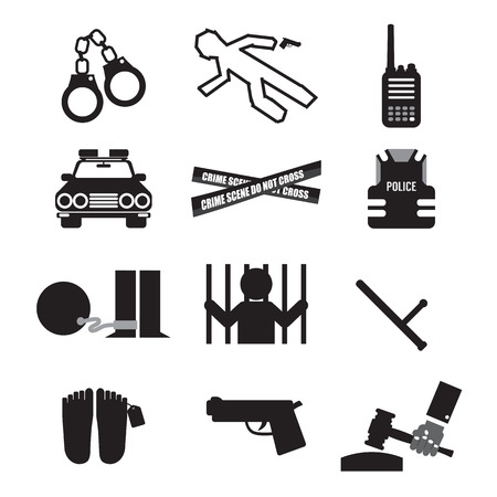 Police And Law Icon Set Vector Illustration Vector