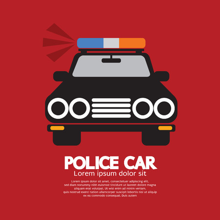 car front: Front View Of Police Car Vector Illustration