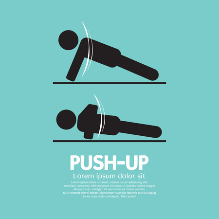 push up: Push Up Sport Sign Vector Illustration