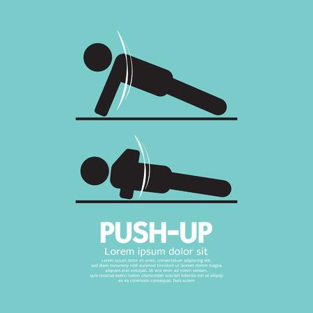push up: Push Up Sport Sign Vector Illustration