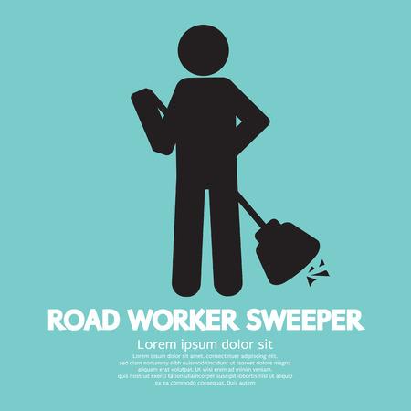 spazzatrice: Illustrazione Strada lavoratore Sweeper Vector