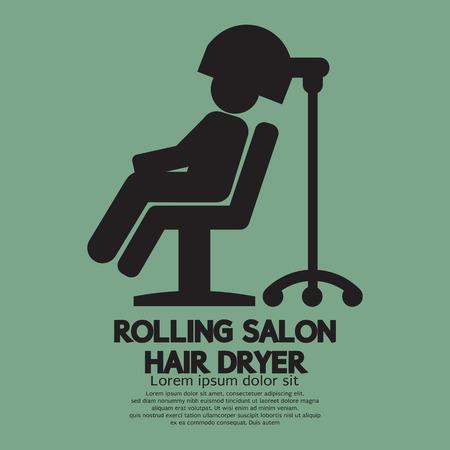 Rolling Salon Hair Dryer Vector Illustration Vector