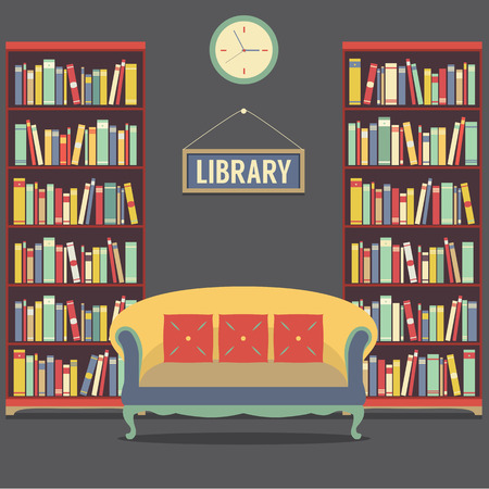 bookcases: Empty Reading Seat In Library Vector Illustration Illustration