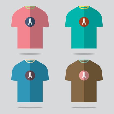 t shirt blouse: Flat Design T-Shirt Set Vector Illustration