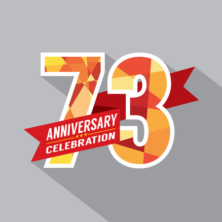 third birthday: 73rd Years Anniversary Celebration Design Illustration
