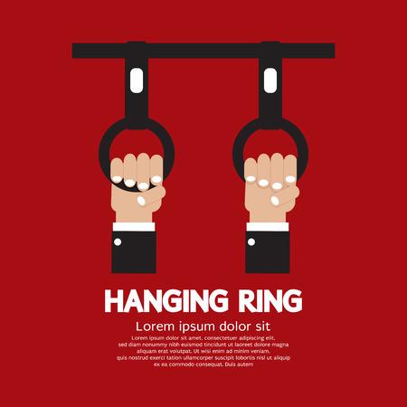 grasp: Hanging Ring In The Public Transport Vehicles Vector Illustration Illustration