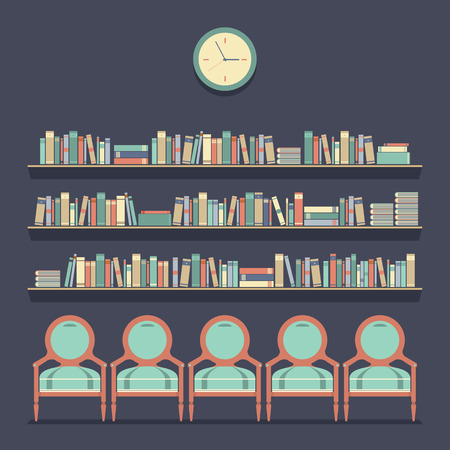 bookcases: Flat Design Reading Seats and Bookshelves Vector Illustration