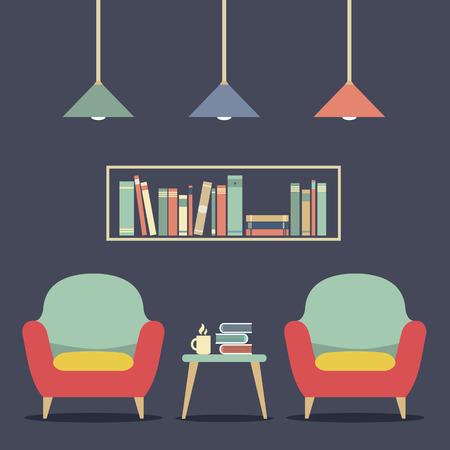 ceiling design: Modern Design Interior Chairs and Bookshelf Illustration