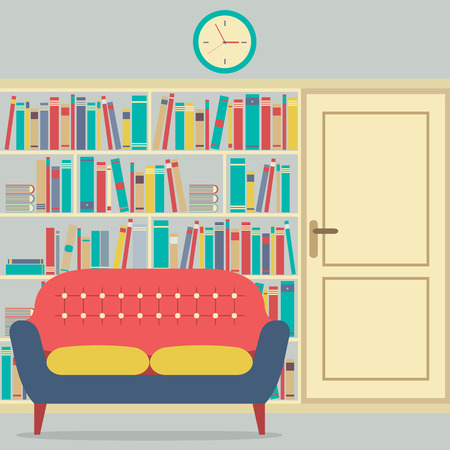 book shelves: Reading Seats In Front Of A Huge Bookcase Illustration