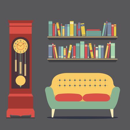 interior design living room: Living Room Interior Design Vector Illustration