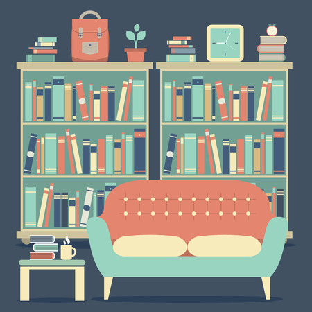 modern interieur: Modern Design Interior Sofa and Bookshelf Stock Illustratie