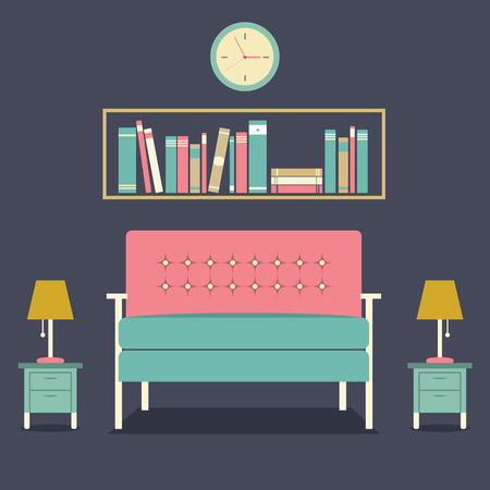modern interieur: Modern design interieur Sofa en Bookshelf Stock Illustratie