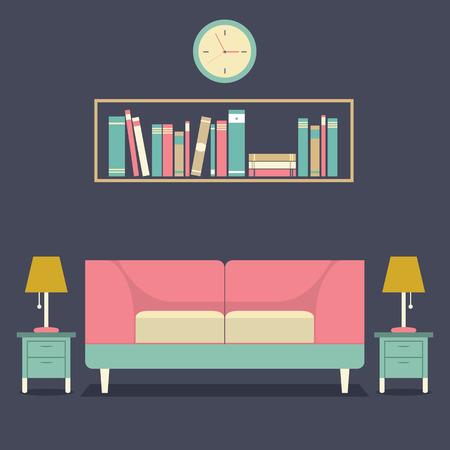 empty chair: Modern Design Interior Sofa and Bookshelf Illustration