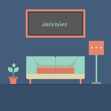 modern interieur: Modern Design Interior Sofa Vector Illustration