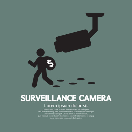 robbery: Surveillance Camera Graphic Vector Illustration Illustration