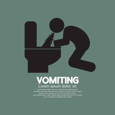 stomach ache: Vomiting Person Graphic Symbol Vector Illustration