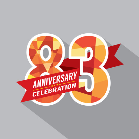 third birthday: 83rd Years Anniversary Celebration Design Illustration